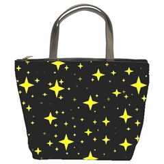 Bright Yellow   Stars In Space Bucket Bags by Costasonlineshop