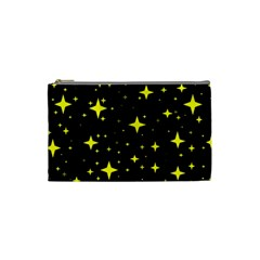 Bright Yellow   Stars In Space Cosmetic Bag (small)  by Costasonlineshop