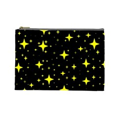 Bright Yellow   Stars In Space Cosmetic Bag (large)  by Costasonlineshop