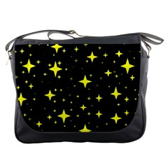 Bright Yellow   Stars In Space Messenger Bags by Costasonlineshop