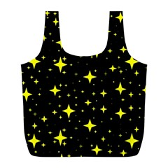 Bright Yellow   Stars In Space Full Print Recycle Bags (l)  by Costasonlineshop