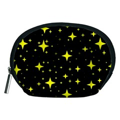Bright Yellow   Stars In Space Accessory Pouches (medium)  by Costasonlineshop