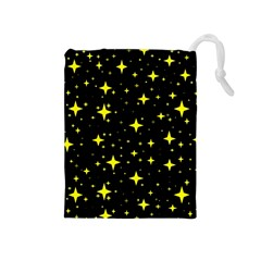 Bright Yellow   Stars In Space Drawstring Pouches (medium)  by Costasonlineshop