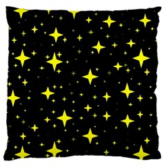 Bright Yellow   Stars In Space Large Flano Cushion Case (one Side) by Costasonlineshop