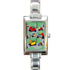 Toy Car Pattern Rectangle Italian Charm Watch by Valentinaart