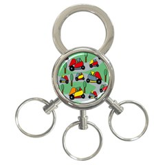 Toy Car Pattern 3 Ring Key Chains by Valentinaart