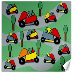 Toy Car Pattern Canvas 16  X 16   by Valentinaart