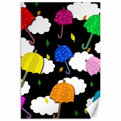 Umbrellas 2 Canvas 12  X 18   by Valentinaart