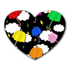 Umbrellas 2 Heart Mousepads by Valentinaart