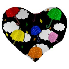 Umbrellas 2 Large 19  Premium Heart Shape Cushions by Valentinaart