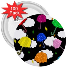 Umbrellas 2 3  Buttons (100 Pack)  by Valentinaart