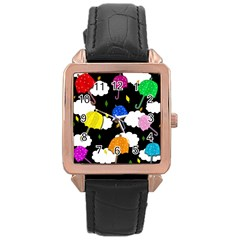 Umbrellas 2 Rose Gold Leather Watch  by Valentinaart
