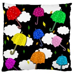 Umbrellas 2 Large Flano Cushion Case (one Side) by Valentinaart