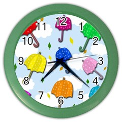 Umbrellas  Color Wall Clocks by Valentinaart