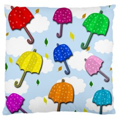 Umbrellas  Large Cushion Case (two Sides) by Valentinaart