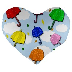 Umbrellas  Large 19  Premium Heart Shape Cushions by Valentinaart