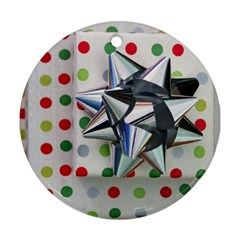 Silver Bow Ornament (round)  by PhotoThisxyz