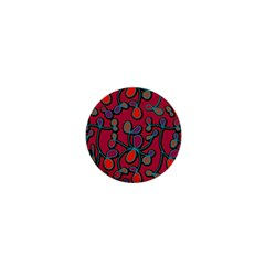 Red Floral Pattern 1  Mini Buttons