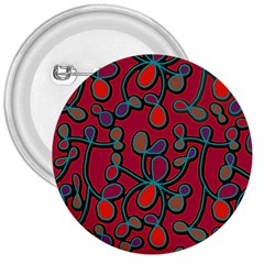 Red Floral Pattern 3  Buttons by Valentinaart