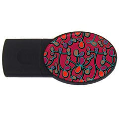 Red Floral Pattern Usb Flash Drive Oval (4 Gb)  by Valentinaart