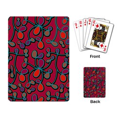 Red Floral Pattern Playing Card by Valentinaart