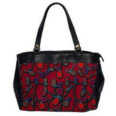 Red Floral Pattern Office Handbags by Valentinaart