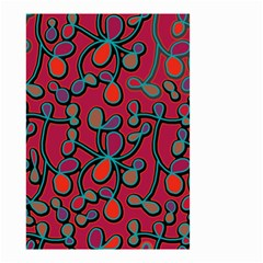 Red Floral Pattern Small Garden Flag (two Sides) by Valentinaart