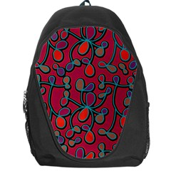 Red Floral Pattern Backpack Bag by Valentinaart