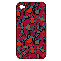 Red Floral Pattern Apple Iphone 4/4s Hardshell Case (pc+silicone) by Valentinaart