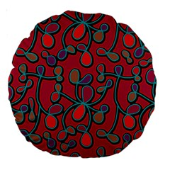 Red Floral Pattern Large 18  Premium Round Cushions by Valentinaart