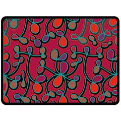 Red Floral Pattern Double Sided Fleece Blanket (large)