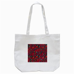 Red Floral Pattern Tote Bag (white) by Valentinaart