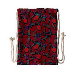 Red Floral Pattern Drawstring Bag (small) by Valentinaart