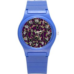 Elegant Purple Pattern Round Plastic Sport Watch (s) by Valentinaart