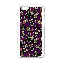 Elegant Purple Pattern Apple Iphone 6/6s White Enamel Case by Valentinaart