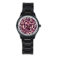 Pink And Purple Pattern Stainless Steel Round Watch by Valentinaart