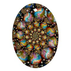 Marbled Spheres Spiral Oval Ornament (two Sides)