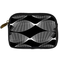 Wavy Lines Black White Seamless Repeat Digital Camera Cases by CrypticFragmentsColors