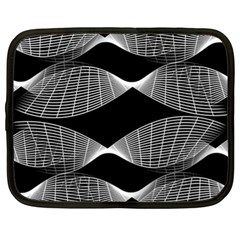 Wavy Lines Black White Seamless Repeat Netbook Case (xl)  by CrypticFragmentsColors