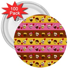 Cupcakes Pattern 3  Buttons (100 Pack)  by Valentinaart