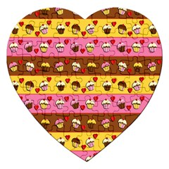 Cupcakes Pattern Jigsaw Puzzle (heart) by Valentinaart