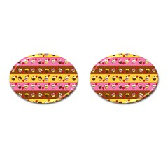 Cupcakes Pattern Cufflinks (oval) by Valentinaart