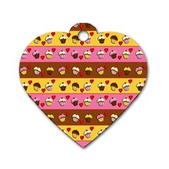 Cupcakes Pattern Dog Tag Heart (one Side)