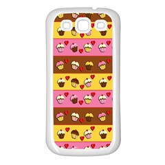 Cupcakes Pattern Samsung Galaxy S3 Back Case (white) by Valentinaart