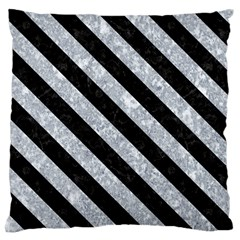 Stripes3 Black Marble & Gray Marble (r) Large Cushion Case (two Sides) by trendistuff