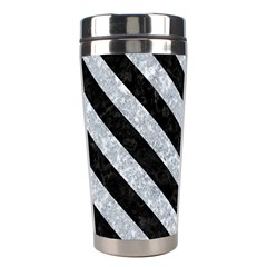 Stripes3 Black Marble & Gray Marble (r) Stainless Steel Travel Tumbler by trendistuff
