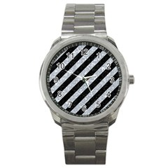 Stripes3 Black Marble & Gray Marble Sport Metal Watch
