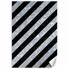 Stripes3 Black Marble & Gray Marble Canvas 12  X 18  by trendistuff