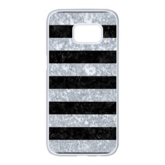 Stripes2 Black Marble & Gray Marble Samsung Galaxy S7 Edge White Seamless Case by trendistuff