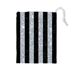 Stripes1 Black Marble & Gray Marble Drawstring Pouch (large) by trendistuff